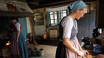 Den Gamle By - maids in the kitchen at the Merchant's house